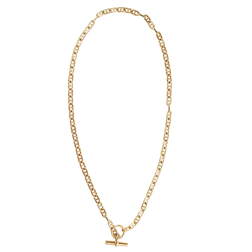 hermes chaine d ancre gold toggle link necklace at 1stdibs