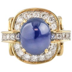 Tiffany & Co. Donald Claflin Sapphire Diamond Gold Platinum Ring