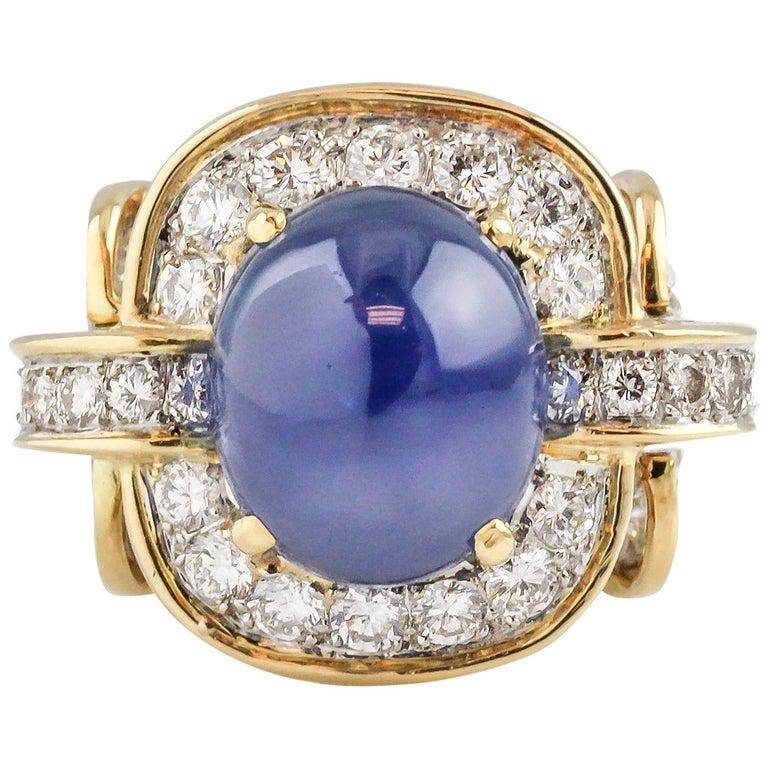 Tiffany & Co. Donald Claflin Sapphire Diamond Gold Platinum Ring For Sale