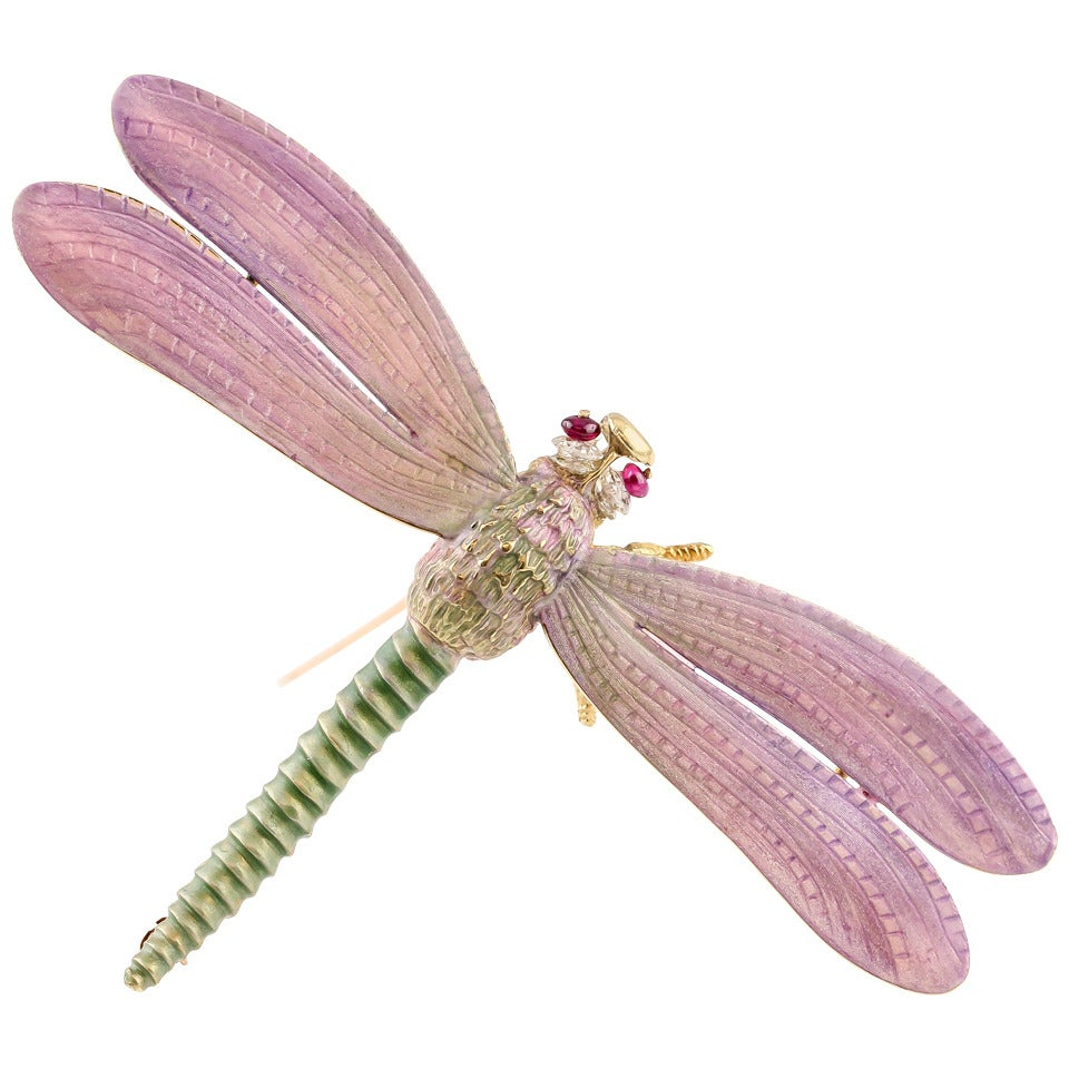 Tiffany & Co. Enamel Ruby Gold Dragonfly Brooch 1