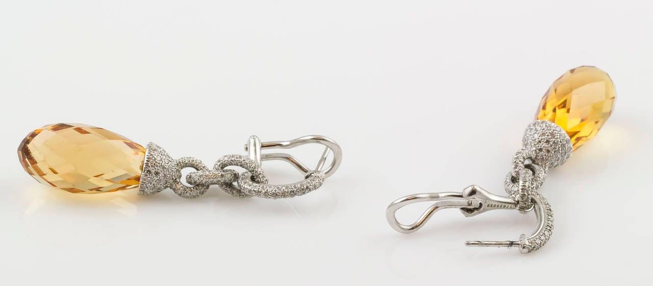 Contemporary Tiffany & Co. Beryl Diamond Platinum Earrings For Sale