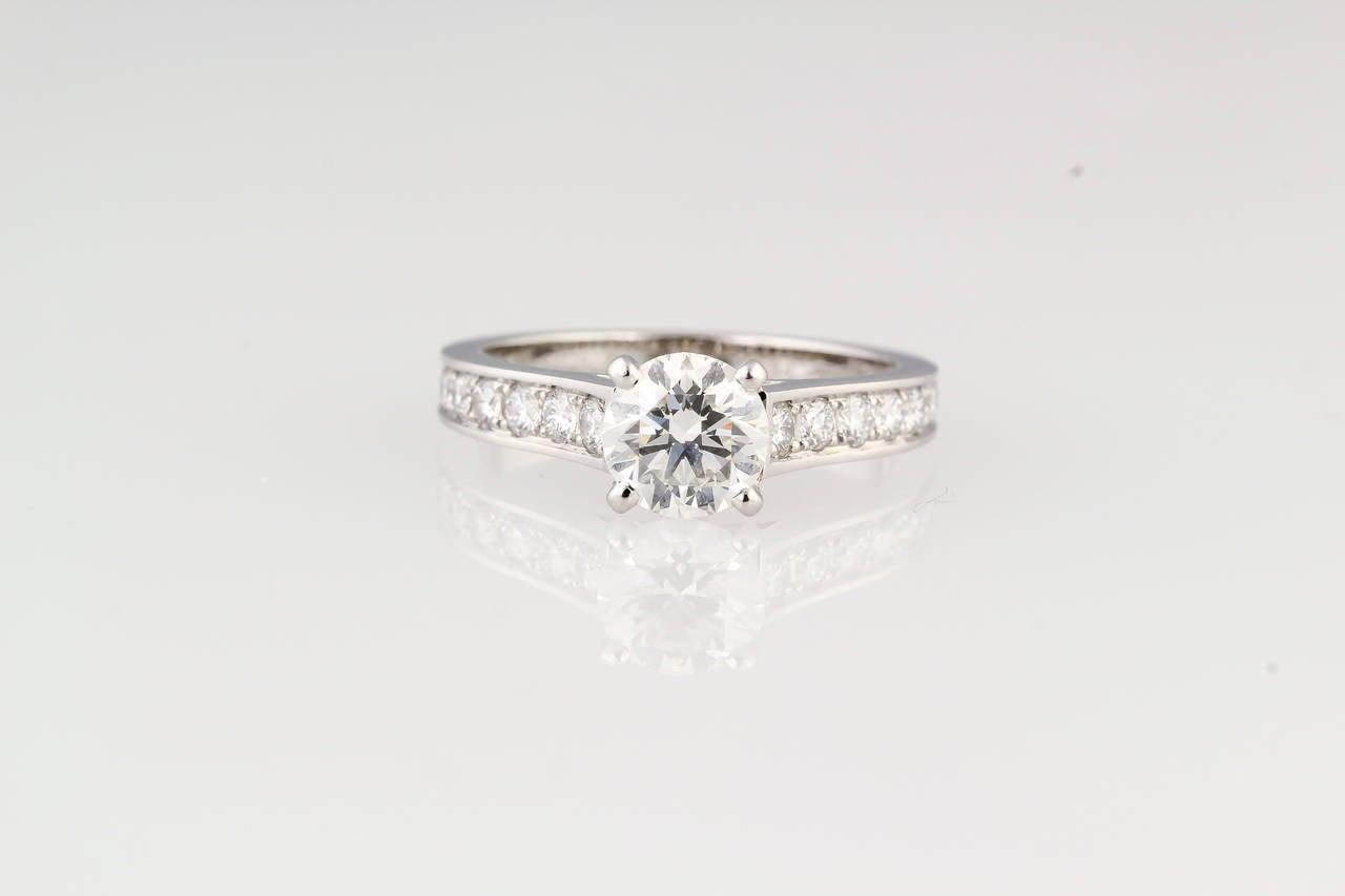 Cartier Diamond Platinum Engagement Ring at 1stdibs