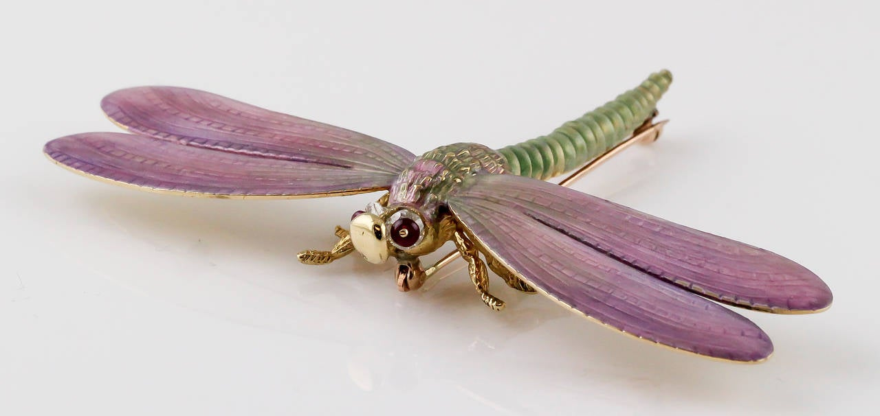 Tiffany & Co. Enamel Ruby Gold Dragonfly Brooch 2