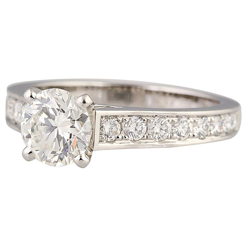 Cartier Diamond Platinum Engagement Ring at 1stdibs