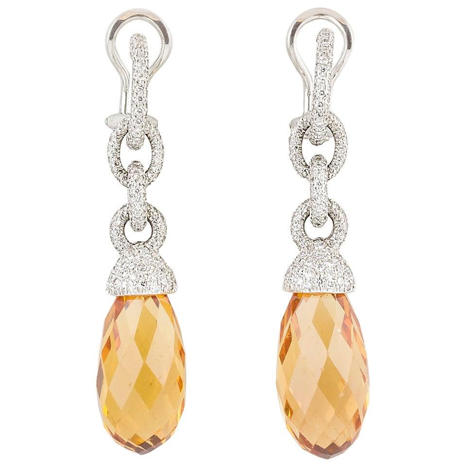 Tiffany & Co. Beryl Diamond Platinum Earrings For Sale