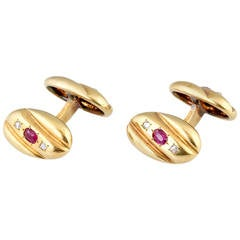 Russian Ruby Diamond Gold Cufflinks