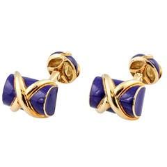 TIFFANY & CO. SCHLUMBERGER Blue Enamel and Gold Log Cufflinks