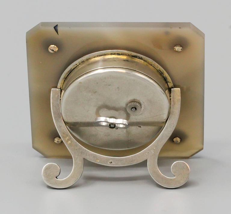 Lacloche Art Deco Diamond Sapphire Agate Coral Silver and Enamel Desk Clock In Excellent Condition For Sale In New York, NY