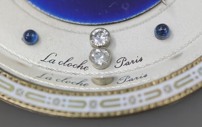 Lacloche Art Deco Diamond Sapphire Agate Coral Silver and Enamel Desk Clock For Sale 1