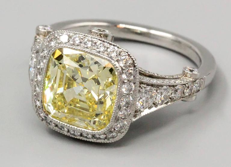 Tiffany & Co. Legacy Fancy Yellow Diamond Platinum Ring 2
