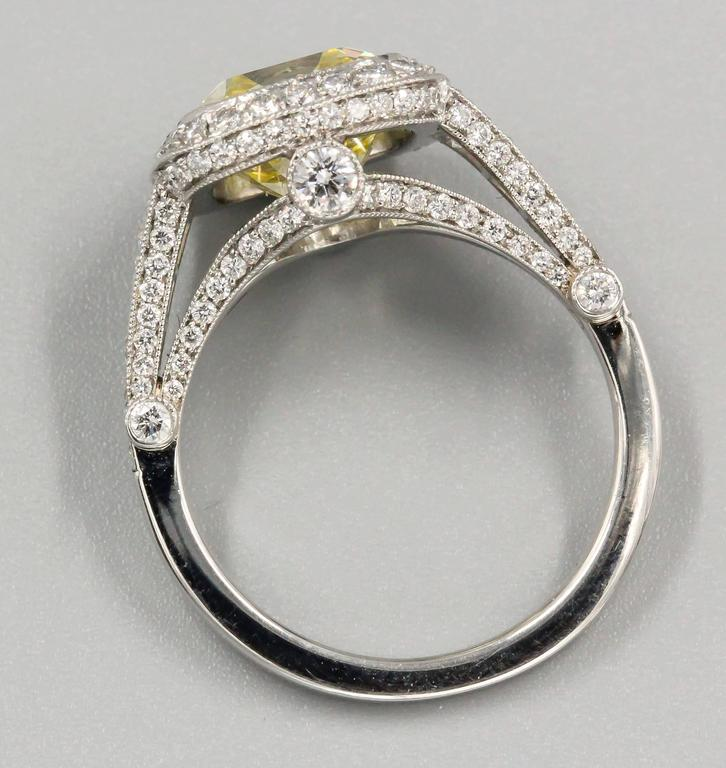 Tiffany & Co. Legacy Fancy Yellow Diamond Platinum Ring 5