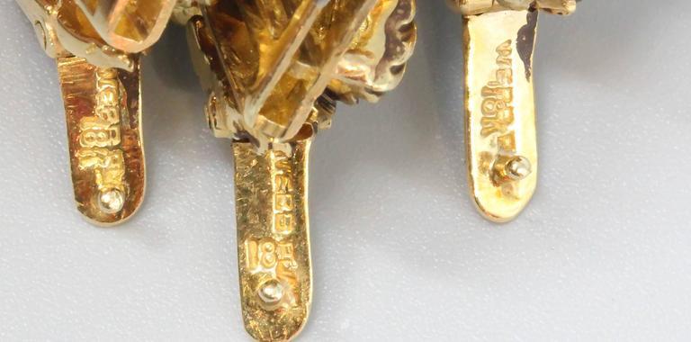 David Webb Three-Diamond Gold Link Bracelets For Sale 2