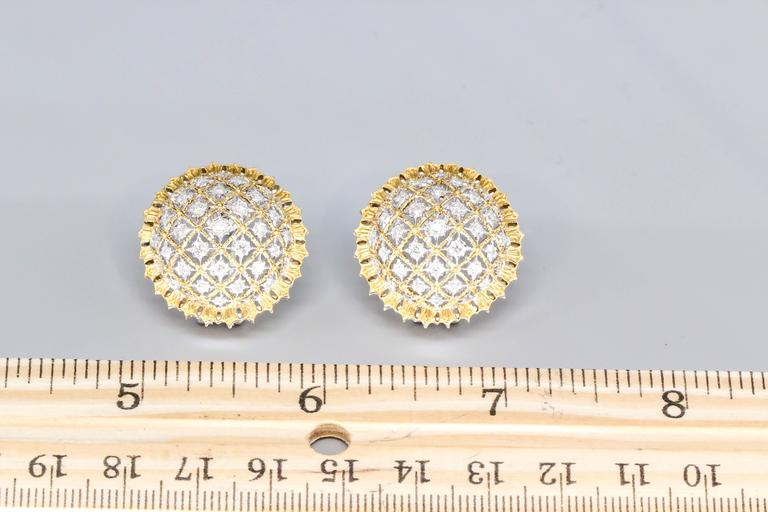 Women's Buccellati Large Diamond Gold Dome Earrings For Sale