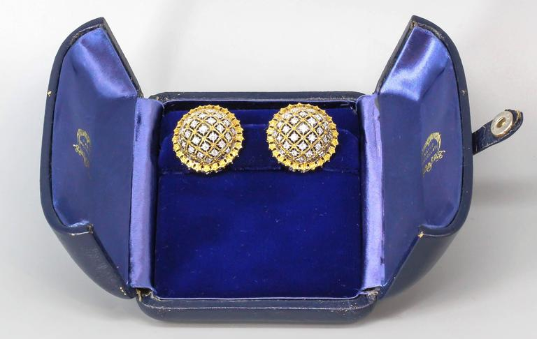 Buccellati Large Diamond Gold Dome Earrings For Sale 1