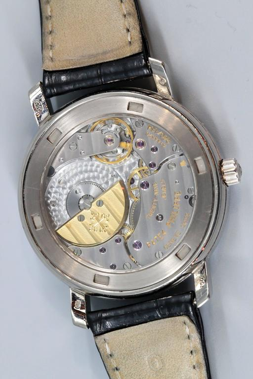Patek Philippe White Gold Moon Phase Black Dial automatic Wristwatch ref 5055G For Sale 1