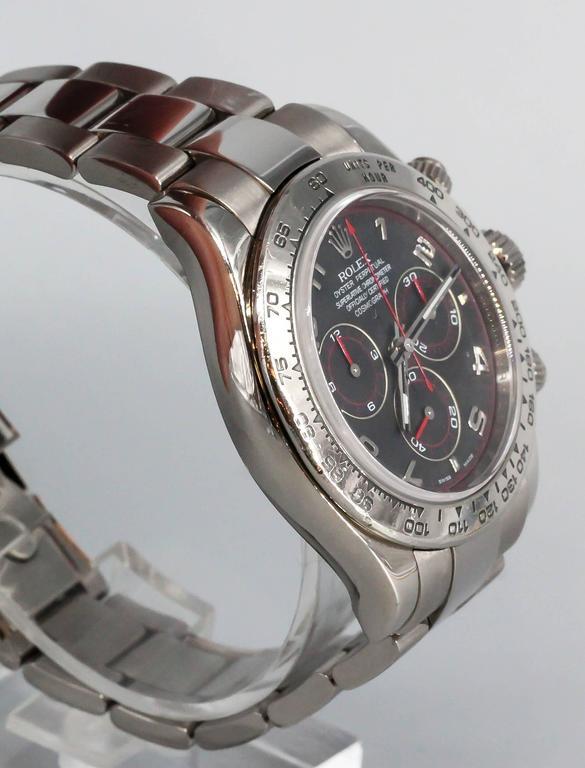 Rolex White Gold Cosmograph Daytona Z Series Black Dial Automatic Wristwatch 2