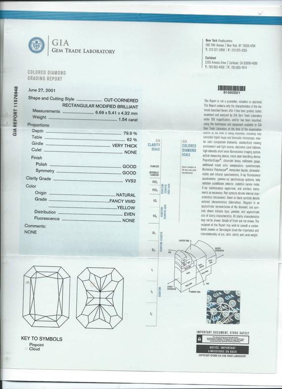 Impressive Fancy Vivid Yellow South Sea Pearl Diamond Platinum Earrings For Sale 1