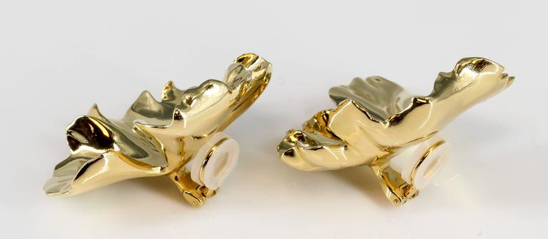 Unusual gold-tone aluminum geranium earrings by JAR, Joel Arthur Rosenthal. These are the large model and are made in limited edition. Pouch is included in sale. Beautiful workmanship and highly collectible.  Hallmarks: JAR, Paris, reference numbers.