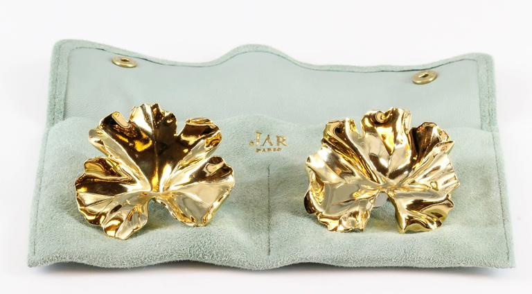 JAR Large Geranium Gold Tone Aluminum Earrings For Sale 1