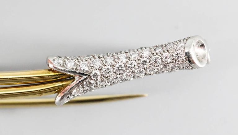 Women's Tiffany & Co. Elsa Peretti Diamond Platinum Gold Brooch For Sale