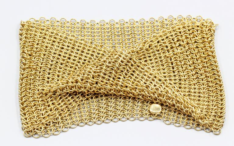 Tiffany Co Elsa Peretti Gold Mesh Bracelet In Excellent Condition For New
