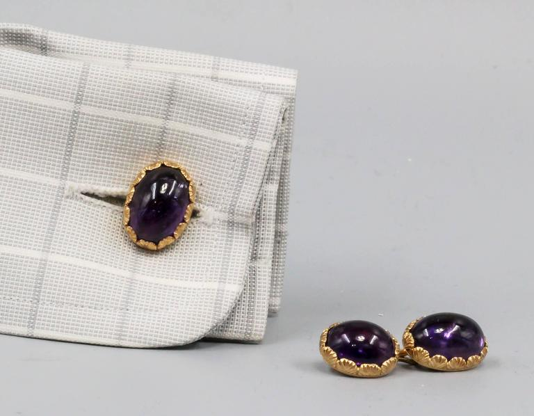 Buccellati Amethyst Gold Cufflinks In Excellent Condition For Sale In New York, NY