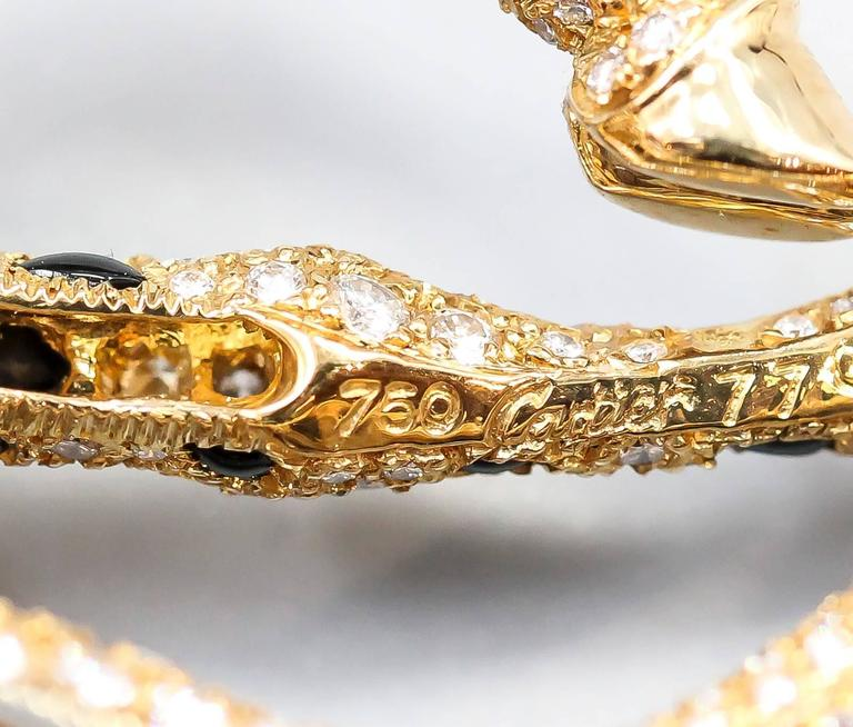 Cartier Onyx Emerald Diamond Gold Giraffe Brooch For Sale 3
