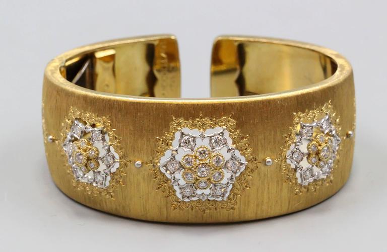 Women's M. Buccellati Diamond Gold Wide Cuff Bracelet For Sale