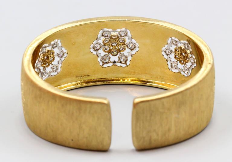 M. Buccellati Diamond Gold Wide Cuff Bracelet For Sale 3