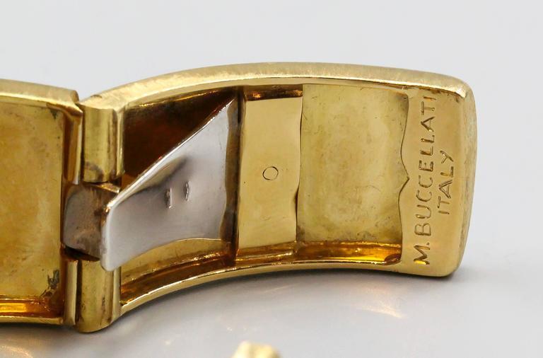 M. Buccellati Diamond Gold Wide Cuff Bracelet For Sale 4