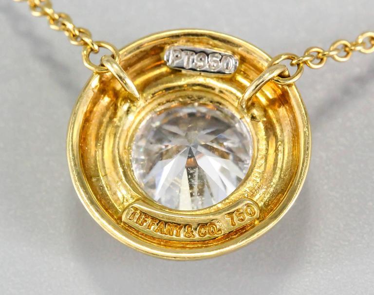 Tiffany & Co. Diamond Gold Platinum Pendant Chain Necklace 2