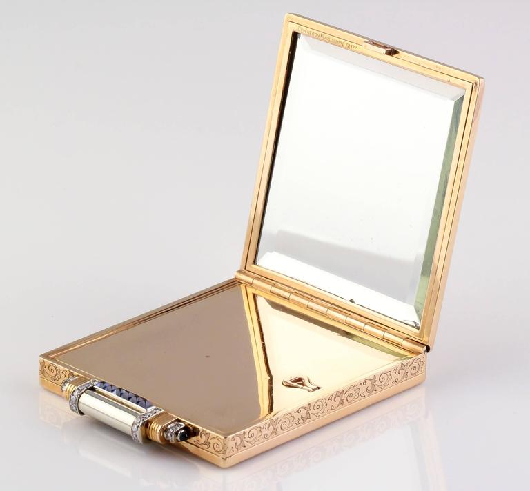Boucheron Paris Sapphire Diamond Gold Compact Case In Good Condition For Sale In New York, NY