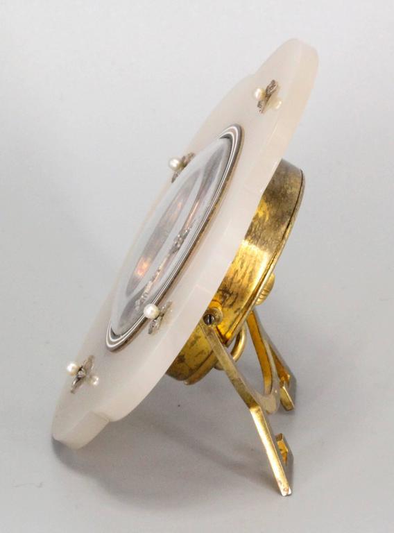 Ugo Frilli Art Deco Diamond Agate Enamel Silver Clock 2