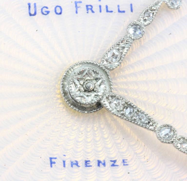 Ugo Frilli Art Deco Diamond Agate Enamel Silver Clock 6