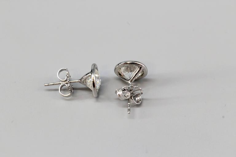 OLD EUROPEAN Cut Diamond  Platinum Stud Earrings 4