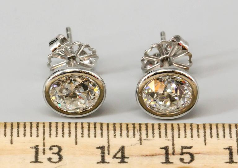OLD EUROPEAN Cut Diamond  Platinum Stud Earrings 5