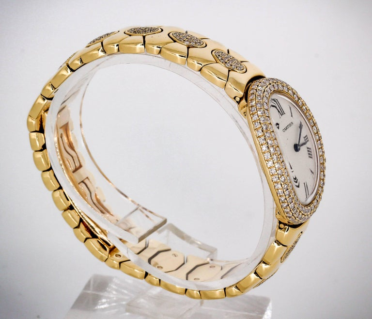 Cartier Ladies Yellow Gold Diamond Baignoire Quartz Wristwatch In Excellent Condition For Sale In New York, NY