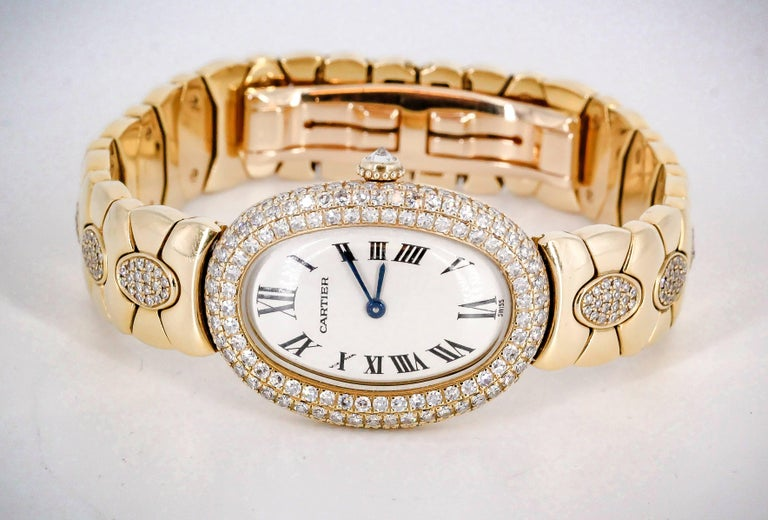 Women's Cartier Ladies Yellow Gold Diamond Baignoire Quartz Wristwatch For Sale