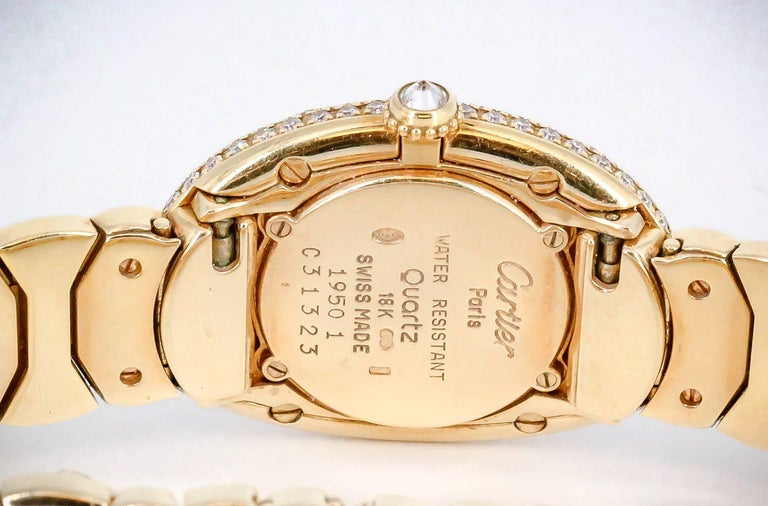 Cartier Ladies Yellow Gold Diamond Baignoire Quartz Wristwatch For Sale 2