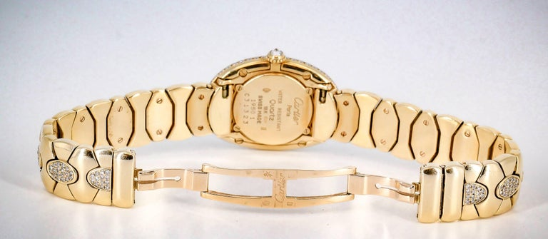 Cartier Ladies Yellow Gold Diamond Baignoire Quartz Wristwatch For Sale 3