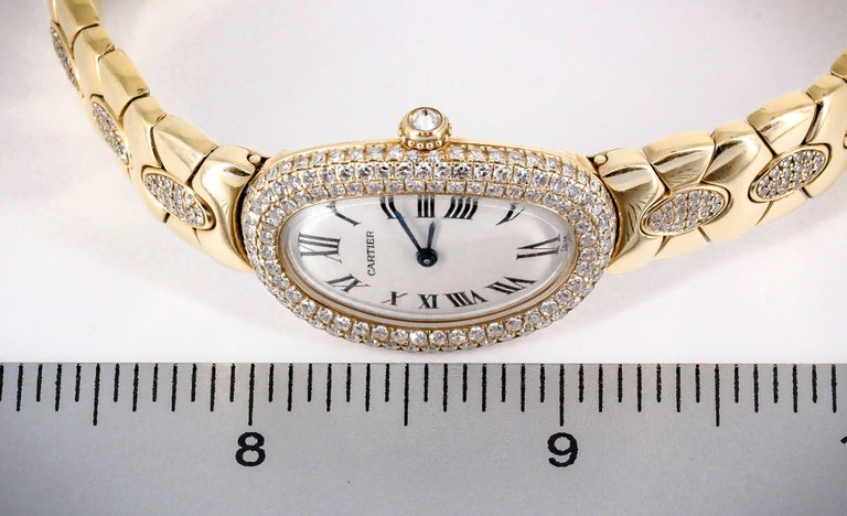 Cartier Ladies Yellow Gold Diamond Baignoire Quartz Wristwatch For Sale 4