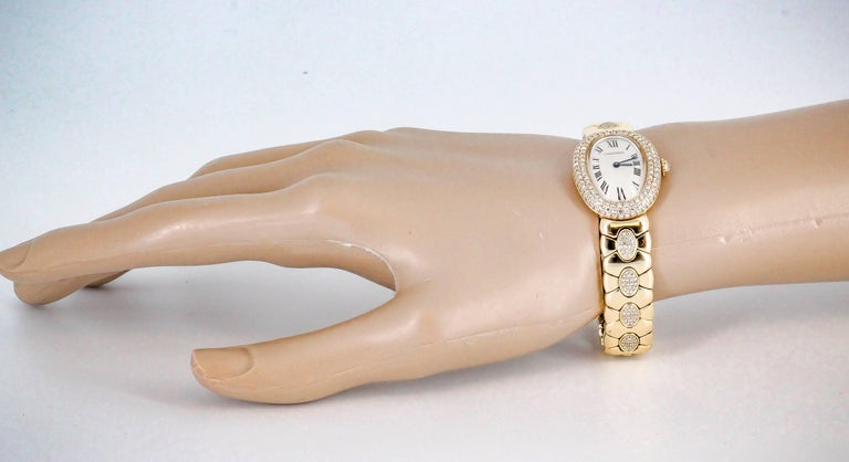 Cartier Ladies Yellow Gold Diamond Baignoire Quartz Wristwatch For Sale 5
