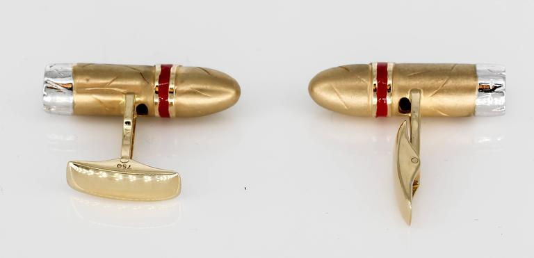 Cigar Shaped Enamel Diamond Gold Cufflinks 3