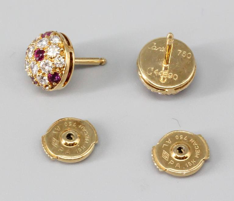 Cartier Ruby Diamond Gold Stud Earrings In Excellent Condition For Sale In New York, NY