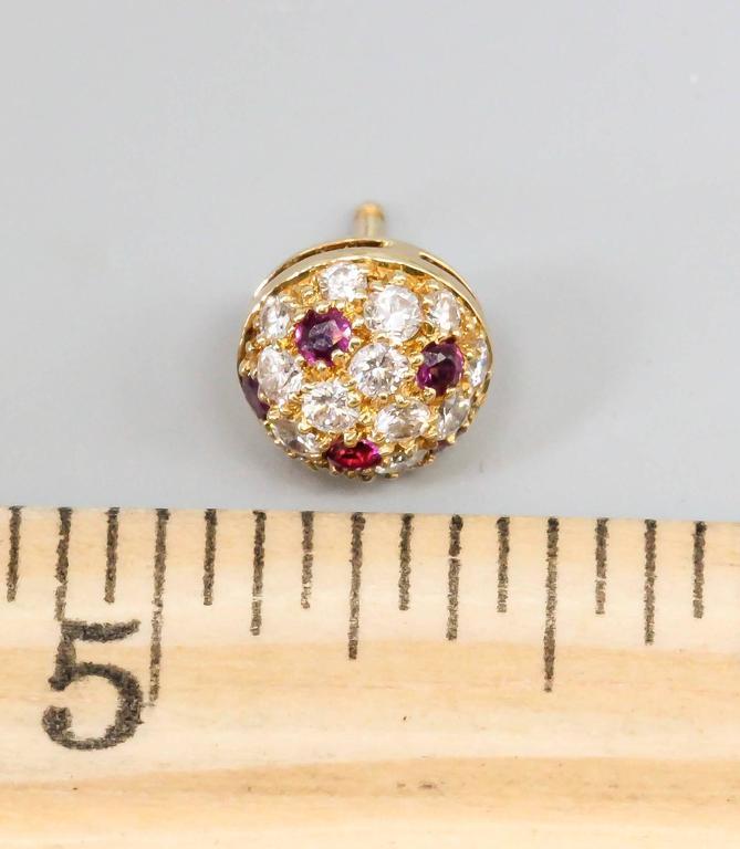 Women's or Men's Cartier Ruby Diamond Gold Stud Earrings For Sale
