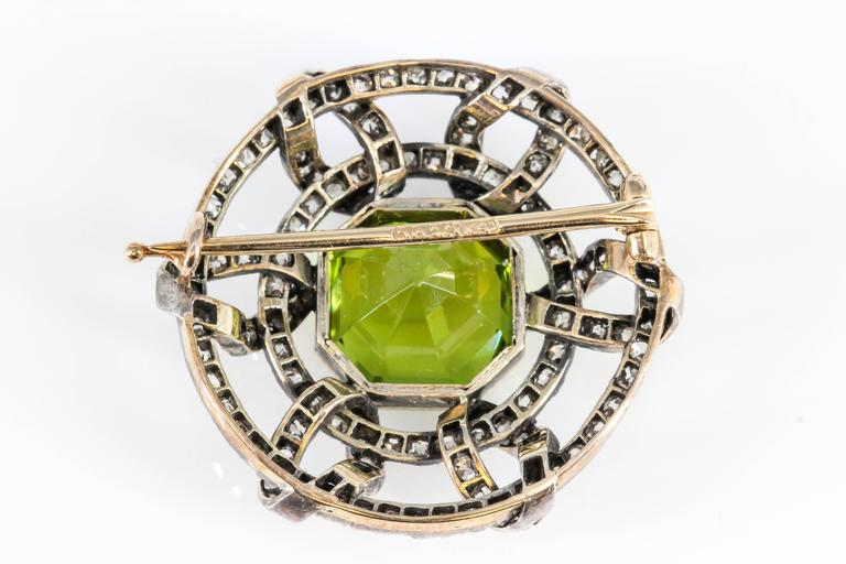 Carl Faberge Peridot Diamond Gold Brooch 2