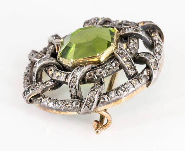Carl Faberge Peridot Diamond Gold Brooch 6