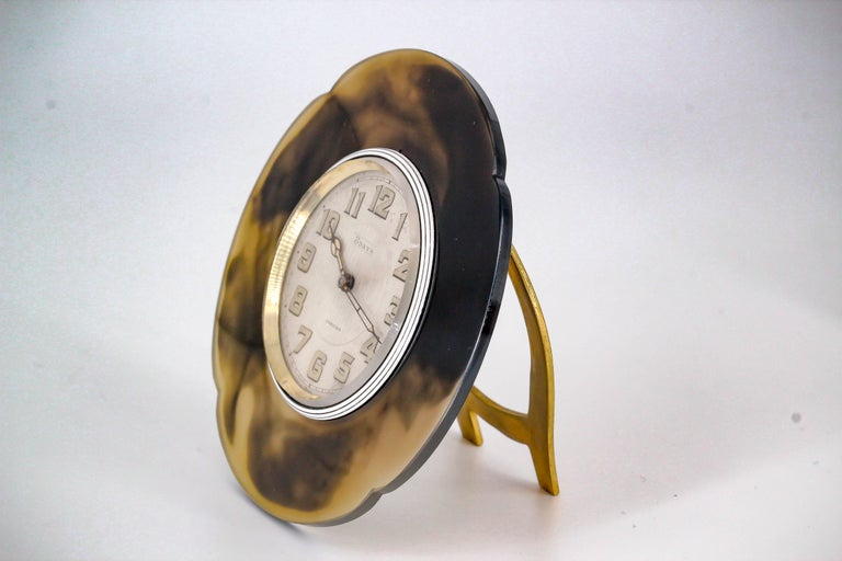 Cartier White Enamel Agate Manual Wind Desk Clock, circa 1930s 3