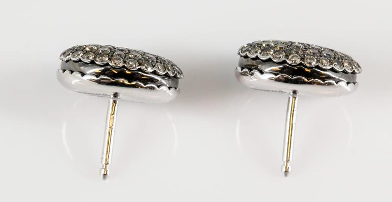 Boucheron Macaron Chocolate Diamond White Gold Stud Earrings 3