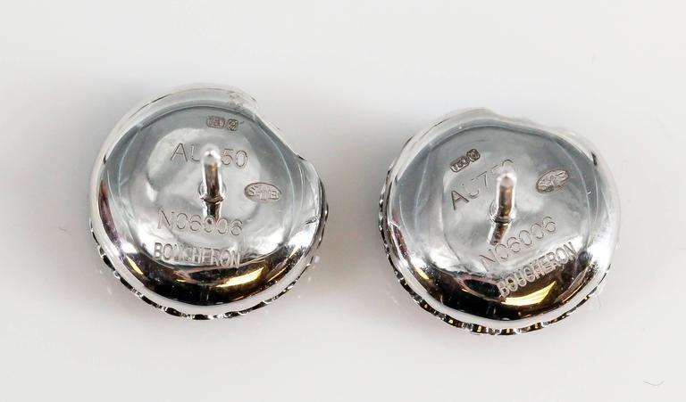 Boucheron Macaron Chocolate Diamond White Gold Stud Earrings 4